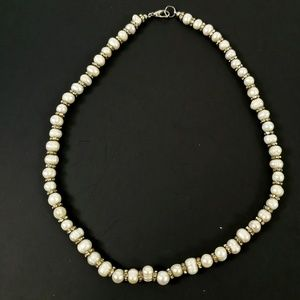 Pearl Silver Toned Ringed Crystal Accent Necklace